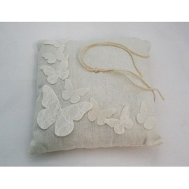 Ring bearer pillow in linen with butterflies