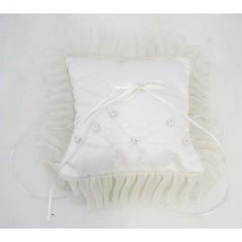 The pillow brings faiths in satin col. White