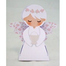 Box little angel with. Pink and white