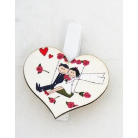 Peg wooden bride and groom - Heart