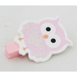 Clothespin wooden Owl with. Pink