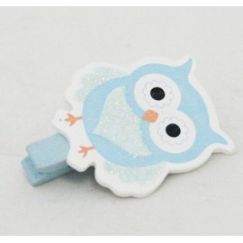 Clothespin wooden Owl with. Blue