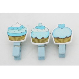 Clothespin wooden Cupcakes with. Blue