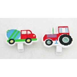 Clothespins wooden Tractor - concrete Mixer