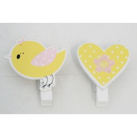Clothespins wooden Heart - the Bird with the. Yellow