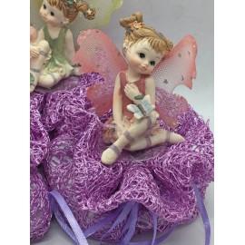 Sacchettino rete lilla con fatina colorata