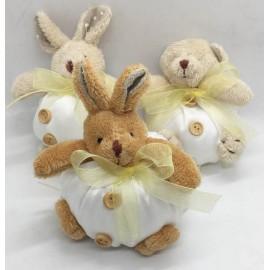 Sacchettino peluche orsetto e coniglietto con confetti