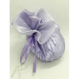 Sacchetto plissé tondo in raso e organza lilla