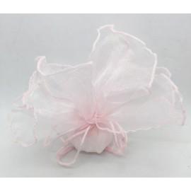 Sacchetto foglia doppio in organza - rosa