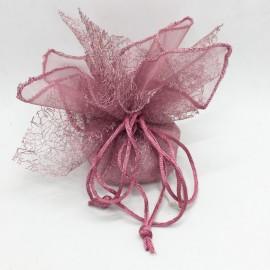 Sacchetto con tirante velo e rete rosa antico