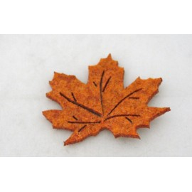 Cabochon maple leaf with. Burnt brown
