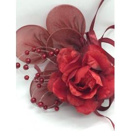 Fiore portaconfetti con racchette e perle - bordeaux