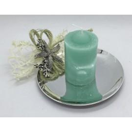 Bugia metallizzata con candela - applicazione marinara assortita e scatola