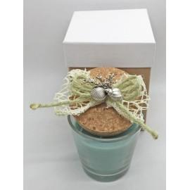 Vasetto d 5 cm con candela - con applicazione marinara assortita e scatola