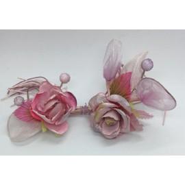 Fiore Ricco con due fiori portaconfetti rosa