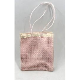 Sacchetto in juta a borsetta rosa e panna