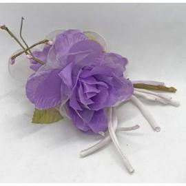 Fabric flower and organza portaconfetti lilac