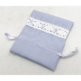 Bag striped cotton, light blue with lace