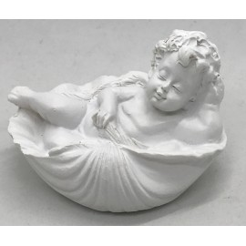 Angel on a shell in plaster